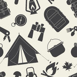 Camping and Hiking Seamless Pattern. Hiking outline pattern. Camping seamless background of camp and hike elements silhouette. Summer adventure tourism tiling Stock Illustration