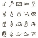 Camping Hiking Signs Black Thin Line Icon Set. Vector. Camping Hiking Signs Black Thin Line Icons Set Outdoor Activity Adventure and Travel. Vector illustration royalty free illustration
