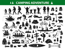 Camping hiking silhouette collection set