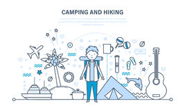 Camping and hiking. Summer travel, hiking equipment, active rest outdoors. stock illustration