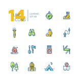 Camping and Hiking - thick line icons set Stock Photo