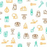 Camping Hiking Thin Line Seamless Pattern Background. Vector. Camping Hiking Thin Line Seamless Pattern Background Outdoor Activity Adventure and Travel. Vector royalty free illustration