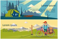 Camping, hiking and trekking horizontal banners, eco tourism, hunting, fishing, summer mountain landscape at day and. Night vector Illustration, web design vector illustration