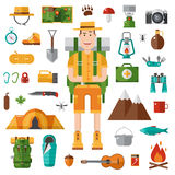 Camping and Hiking Vector Collection Stock Image