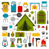 Camping and Hiking Vector Icons Stock Photo