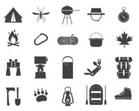 Camping and Hiking Vector Icons Stock Image