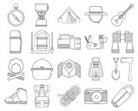 Camping and Hiking Vector Icons Royalty Free Stock Photo
