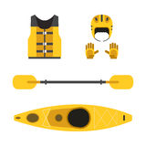 Camping and Hiking Vector Icons. Rafting and kayaking icons collection. Rafting equipment. Life vest jacket,  paddle oar, kayak boat, rafting helmet and gloves Stock Images