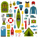 Camping and Hiking Vector Icons Stock Images