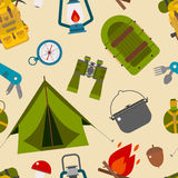 Camping and Hiking Vector Seamless Pattern. Camping Pattern. Seamless background of camp and hike elements. Summer tourism tiling backdrop Vector Illustration