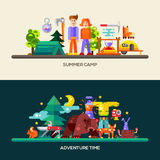 Camping and hiking website banners set. Camping and hiking website header, banner with modern flat design icons and other web design vector elements Stock Photography