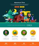 Camping, hiking website header banner with webdesign elements Royalty Free Stock Photo
