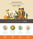 Camping, hiking website template with header and icons Stock Photography