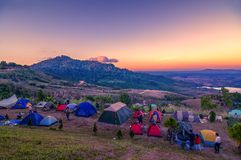 Camping on the hill khaokho thailand. Shoot on the hill Stock Images