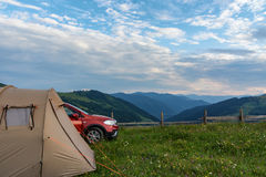 Camping hill & mountain Stock Images