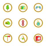 Camping holiday icons set, cartoon style Royalty Free Stock Images
