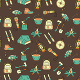 Camping holiday seamless vector pattern Stock Image