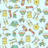 Camping holiday seamless vector pattern Royalty Free Stock Images