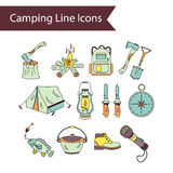 Camping holiday vector line icons. Royalty Free Stock Photos