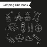 Camping holiday vector line icons. Royalty Free Stock Photography