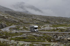 Camping holidays car on the mountain road, summer in norway Stock Photography