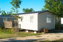 Camping homes. Camping site with identical mobil homes stock photos