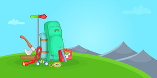 Camping horizontal banner hill, cartoon style Stock Photo