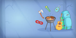 Camping horizontal banner items, cartoon style Stock Photo