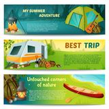 Camping Horizontal Banners Set Royalty Free Stock Photos