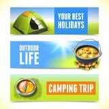 Camping horizontal banners Royalty Free Stock Photo