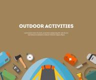 Camping horizontal et tourisme de bannière sur un appartement extérieur Photographie stock