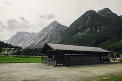 Camping house a the foot of mountains Royalty Free Stock Photo