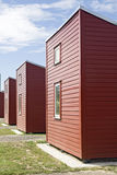 Camping houses. Row of red camping houses in Copenhagen stock images