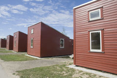 Camping houses. Row of red camping houses in Copenhagen royalty free stock image