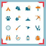 Camping and hunting icons | In a frame series Royalty Free Stock Image
