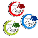 Camping icon. Circular symbol - Welcome to Camp - with tent. Red, blue and green design. Royalty Free Stock Photos