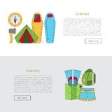 Camping icon flat. Vector illustration in flat style with stroke, a banner on the theme of camping. The template consists of icons on the theme of camping and Stock Photos