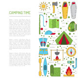 Camping icon flat. Vector illustration in flat style with stroke, a banner on the theme of camping. The template consists of icons on the theme of camping and Royalty Free Stock Photo