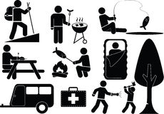 Camping icon. Llustration - man and camping icon set stock illustration