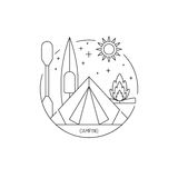 Camping icon outline Stock Photography