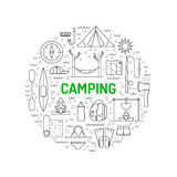 Camping icon outline Royalty Free Stock Photography