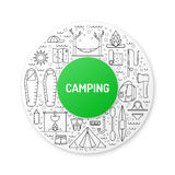 Camping icon outline Stock Images
