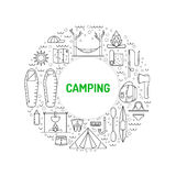 Camping icon outline Stock Photo