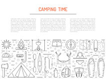 Camping icon outline Stock Photos