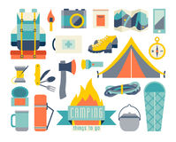 Camping icon set. Adventure hiking kit. Hiking and camping equipment.Tent camp. Backpack, thermos, sleeping bag cartoon.Ax, map, flashlight icon.Vector Stock Image