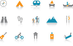 Free Camping Icon Set - Blue Royalty Free Stock Images - 6477599