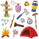 Camping Icon Set Royalty Free Stock Photos