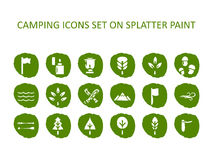 Camping icon set on green splatter paint. Flat icons  Stock Photos