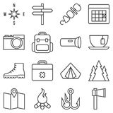 Camping icon set. Outline style Royalty Free Stock Photo