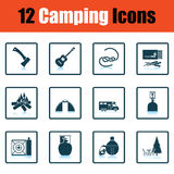 Camping icon set Stock Photo